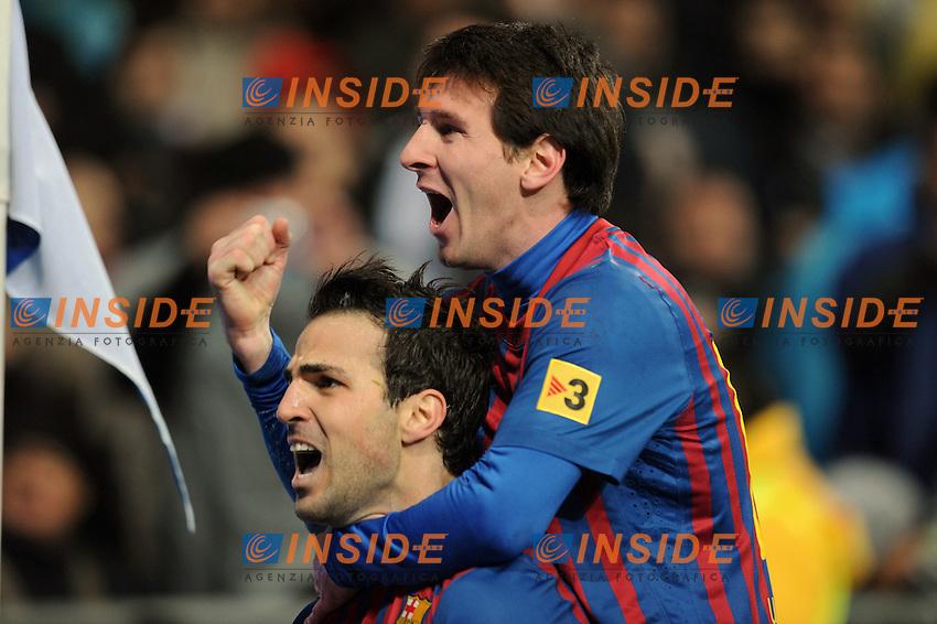 "Esultanza di Cesc Fabregas e Lionel Messi Barcellona.Madrid 10/12/2011 Stadio ""Santiago Bernabeu"".Liga Spagnola.Real Madrid Vs Barcellona.Foto Insidefoto / Paco Largo / Panoramic.ITALY ONLY"