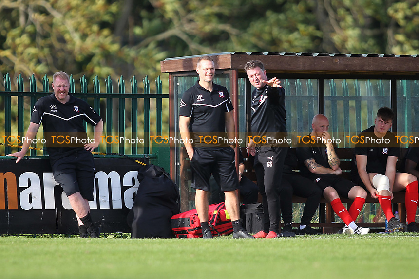 Coggeshall manager Graeme Smith (R) during Romford vs Coggeshall Town, Bostik League Division 1 North Football at Rookery Hill on 13th October 2018