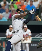 New York Yankees left fielder Cameron Maybin (38) pops out in the second inning against the Baltimore Orioles at Oriole Park at Camden Yards in Baltimore, MD on Tuesday, August 6, 2019.<br /> Credit: Ron Sachs / CNP<br /> (RESTRICTION: NO New York or New Jersey Newspapers or newspapers within a 75 mile radius of New York City)