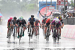 Maglia Ciclamino Elia Viviani (ITA) Quick-Step Floors outsprints Sam Bennett (IRL) Bora-Hansgrohe to win Stage 17 of the 2018 Giro d'Italia, The Franciacorta Stage running 155km from Riva del Garda to Iseo, Italy. 23rd May 2018.<br /> Picture: LaPresse/Fabio Ferrari | Cyclefile<br /> <br /> <br /> All photos usage must carry mandatory copyright credit (&copy; Cyclefile | LaPresse/Fabio Ferrari)
