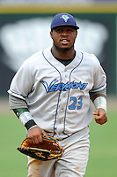 Vermont Lake Monsters outfielder B.J. Boyd #23  during a game versus the Lowell Spinners at LeLacheur Park in Lowell, Massachusetts on June 30, 2013. (Ken Babbitt/Four Seam Images)