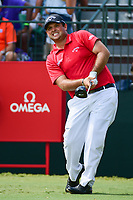 Patrick Reed (USA) watches his tee shot on 10 during Sunday's final round of the PGA Championship at the Quail Hollow Club in Charlotte, North Carolina. 8/13/2017.<br /> Picture: Golffile | Ken Murray<br /> <br /> <br /> All photo usage must carry mandatory copyright credit (&copy; Golffile | Ken Murray)