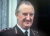 Sir Arthur Young, Commissioner of the City of London Police, who was seconded in 1969 to the RUC, Royal Ulster Constabulary, to implement the Hunt Report, which introduced the standard British rank system for police officers in Northern Ireland. Young had the distinction of being the RUC's last Inspector-General and its first Chief Constable. November 1969. 196911000258a<br />