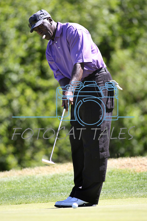 Former NBA player Michael Jordan plays in a practice round in the 22nd American Century Celebrity Golf Championship at Edgewood Tahoe Golf Course in Stateline, Nev., on Thursday, July 14, 2011. .Photo by Cathleen Allison