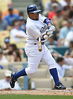 LOS ANGELES, CA - May 2:  Rafael Furcal of the Los Angeles Dodgers breaks his bat against the Arizona Diamondbacks on May 2, 2007 at Dodger Stadium in Los Angeles, California. The Dodgers defeated the Diamondbacks 2-1.