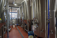 The brewing kettles of the Kings County Brewers Collective in the Bushwick neighborhood of Brooklyn in New York on Sunday, October 16, 2016. The newly opened brewery and taproom is the first brewery to open in Bushwick since 1976 (© Richard B. Levine)