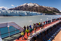 Visitors aboard the Pacific Princess Cruise ship view Margerie Glacier and Fairweather Mountains while in Tarr Inlet in Glacier Bay National Park in Southeast, Alaska    <br /> <br /> (C) Jeff Schultz/SchultzPhoto.com