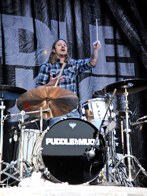 Shannon Boone of Puddle of Mudd performs during the Rock Allegiance Tour at Lifestyle Communities Pavilion in Columbus, Ohio on September 14, 2011.