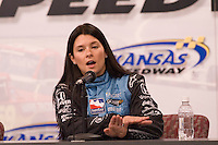 Andretti Green Racing driver Danica Patrick talks during a press conference Friday before the IndyCar Series race on Sunday at Kansas Speedway in Kansas City, Kansas on April 27, 2007.