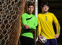 NWA Democrat-Gazette/ANDY SHUPE - Fayetteville High School goalies Lucas Araujo (left) of Brazil and Colton Farley have shared time at the position for the Bulldogs this season. Wednesday, May 6, 2015.