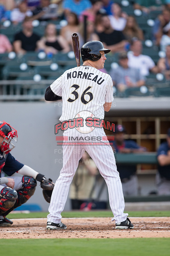 Justin Morneau (36) of the Charlotte Knights at bat against the Pawtucket Red Sox at BB&T BallPark on July 6, 2016 in Charlotte, North Carolina.  The Knights defeated the Red Sox 8-6.  (Brian Westerholt/Four Seam Images)