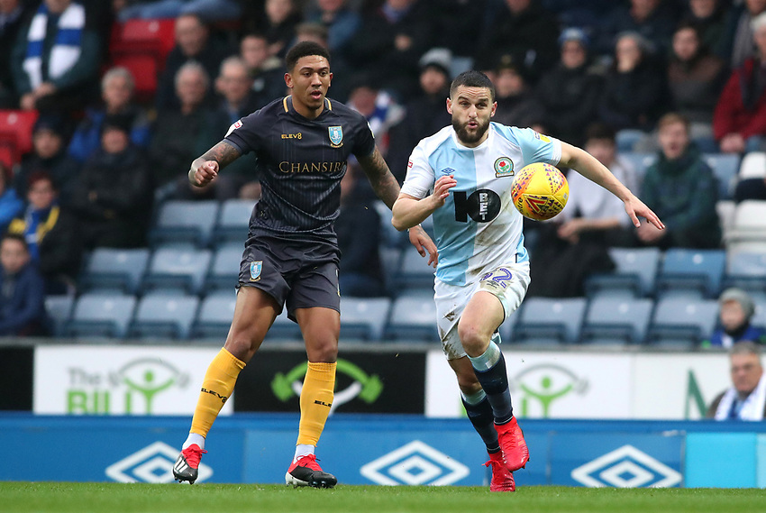 Blackburn Rovers' Craig Conway and Sheffield Wednesday Micheal Hector<br /> <br /> Photographer Rachel Holborn/CameraSport<br /> <br /> The EFL Sky Bet Championship - Blackburn Rovers v Sheffield Wednesday - Saturday 1st December 2018 - Ewood Park - Blackburn<br /> <br /> World Copyright © 2018 CameraSport. All rights reserved. 43 Linden Ave. Countesthorpe. Leicester. England. LE8 5PG - Tel: +44 (0) 116 277 4147 - admin@camerasport.com - www.camerasport.com