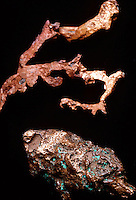 NATIVE COPPER SPECIMENS - Cu<br /> Copper melts at about 1083&deg; C (about 1981&deg; F), boils at about 2567&deg; C (about 4753&deg; F), and has a specific gravity of 8.9. The atomic weight of copper is 63.546.  Native copper occurs in the vicinity of Lake Superior in northern Michigan.