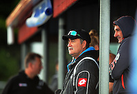 NZ coaches Sean Dancer (right) and Mark Hager watch the international women's hockey match between the New Zealand Black Sticks and Malaysia at TET Stadium, Stratford, New Zealand on Thursday, 15 December 2016. Photo: Dave Lintott / lintottphoto.co.nz