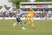 Jorge Grant of Notts County and Dan Butler of Newport County during the Sky Bet League 2 match between Newport County and Notts County at Rodney Parade, Newport, Wales on 6 May 2017. Photo by Mark  Hawkins / PRiME Media Images.