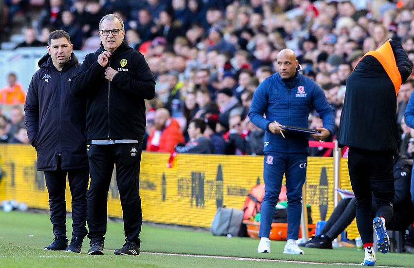 Leeds United manager Marcelo Bielsa watches on during the closing stages<br /> <br /> Photographer Alex Dodd/CameraSport<br /> <br /> The EFL Sky Bet Championship - Middlesbrough v Leeds United - Saturday 9th February 2019 - Riverside Stadium - Middlesbrough<br /> <br /> World Copyright © 2019 CameraSport. All rights reserved. 43 Linden Ave. Countesthorpe. Leicester. England. LE8 5PG - Tel: +44 (0) 116 277 4147 - admin@camerasport.com - www.camerasport.com