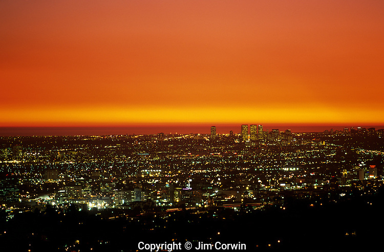 Century city and Santa Monica at sunset from Griffith park Los Angeles California USA..