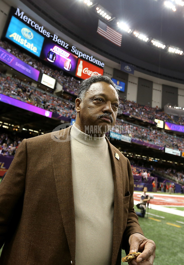 Feb 3, 2013; New Orleans, LA, USA; Jesse Jackson in attendance before Super Bowl XLVII between the San Francisco 49ers and the Baltimore Ravens at the Mercedes-Benz Superdome. Mandatory Credit: Mark J. Rebilas-