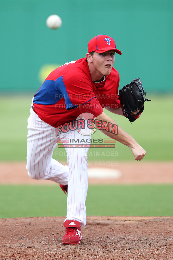 Philadelphia Phillies Justin De Fratus #72 during a scrimmage vs the Florida State Seminoles  at Bright House Field in Clearwater, Florida;  February 24, 2011.  Philadelphia defeated Florida State 8-0.  Photo By Mike Janes/Four Seam Images