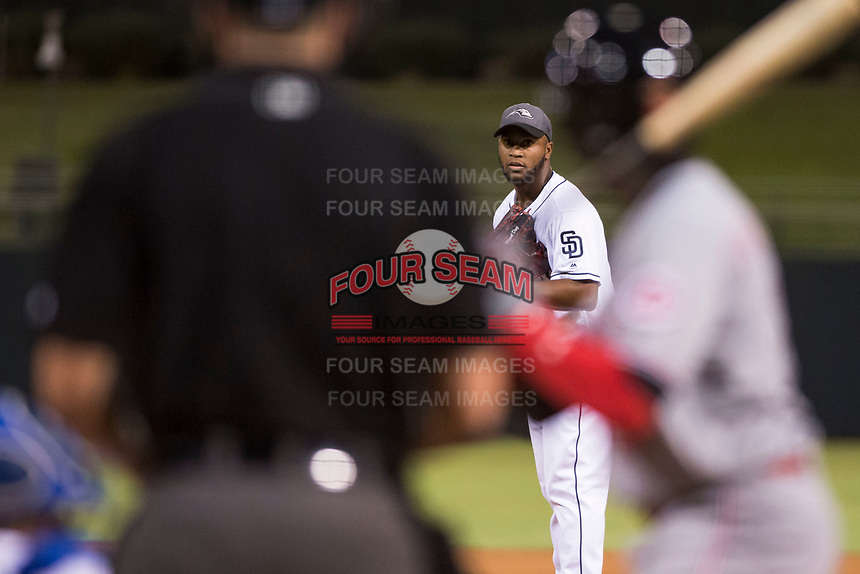 AFL West relief pitcher Miguel Diaz (36), of the Peoria Javelinas and the San Diego Padres organization, looks in for the sign during the Fall Stars game at Surprise Stadium on November 3, 2018 in Surprise, Arizona. The AFL West defeated the AFL East 7-6 . (Zachary Lucy/Four Seam Images)