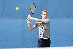 03 April 2015: Notre Dame's Josh Hagar. The Duke University Blue Devils hosted the University of Notre Dame Fighting Irish at Ambler Stadium in Durham, North Carolina in a 2014-15 NCAA Division I Men's Tennis match. Duke won the match 5-2.