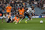 Home team midfielder Daniel Johnson (right) presses for a second goal in the second-half as Preston North End take on Reading in an EFL Championship match at Deepdale. The home team won the match 1-0, Jordan Hughill scoring the only goal after 22nd minutes, watched by a crowd of 11,174.