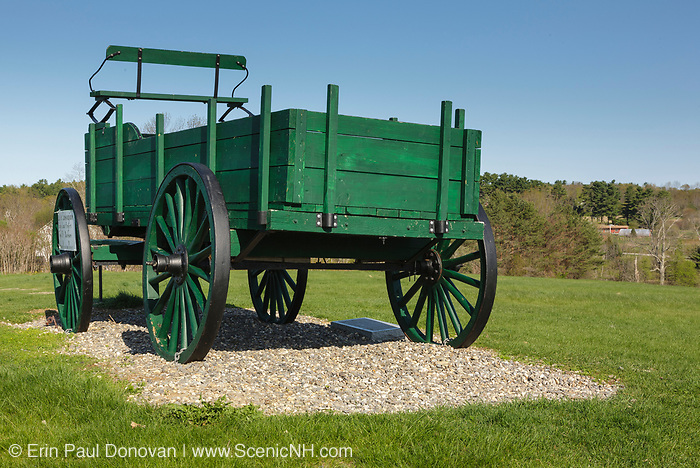 Green wagon at Wagon Hill Farm in Durham, New Hampshire USA.