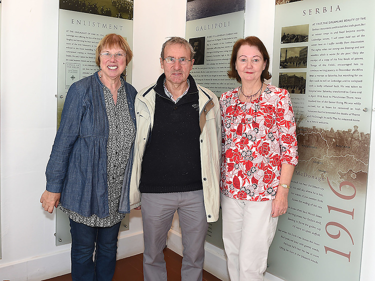 Anne O'Shaughnessy, Paul Hoare and Madeline Clarke Guide pictured at the Ledwidge Cotage open day. Photo:Colin Bell/pressphotos.ie
