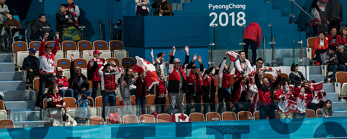 PyeongChang 14/3/2018 - FAns start the wave as Canada takes on Slovakia in wheelchair curling at the Gangneung Curling Centre during the 2018 Winter Paralympic Games in Pyeongchang, Korea. Photo: Dave Holland/Canadian Paralympic Committee