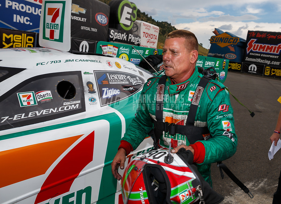 Jul 23, 2017; Morrison, CO, USA; NHRA funny car driver Jim Campbell during the Mile High Nationals at Bandimere Speedway. Mandatory Credit: Mark J. Rebilas-USA TODAY Sports