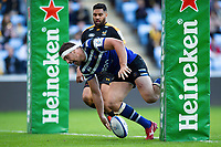 Charlie Ewels of Bath Rugby scores a second half try. Heineken Champions Cup match, between Wasps and Bath Rugby on October 20, 2018 at the Ricoh Arena in Coventry, England. Photo by: Patrick Khachfe / Onside Images