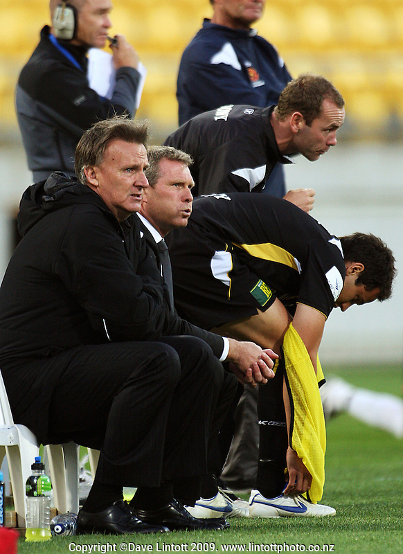 Phoenix coach Ricki Herbert breathes a sigh of relief as Phoenix take a 2-0 lead during the A-League match between Wellington Phoenix and Newcastle Jets at Westpac Stadium, Wellington, New Zealand on Sunday, 4 January 2009. Photo: Dave Lintott / lintottphoto.co.nz