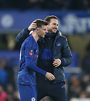 Chelsea manager Frank Lampard and Mason Mount celebrate at the end of the game<br /> <br /> Photographer Rob Newell/CameraSport<br /> <br /> The Emirates FA Cup Fifth Round - Chelsea v Liverpool - Tuesday 3rd March 2020 - Stamford Bridge - London<br />  <br /> World Copyright © 2020 CameraSport. All rights reserved. 43 Linden Ave. Countesthorpe. Leicester. England. LE8 5PG - Tel: +44 (0) 116 277 4147 - admin@camerasport.com - www.camerasport.com