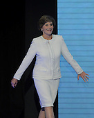 St. Paul, MN - September 1, 2008 -- First lady Laura Bush walks on stage to appeal for aid for the Gulf Coast areas affected by Hurricane Gustav on day 1 of the 2008 Republican National Convention in Saint Paul, Minnesota on Monday, September 1, 2008..Credit: Ron Sachs / CNP.(RESTRICTION: NO New York or New Jersey Newspapers or newspapers within a 75 mile radius of New York City)