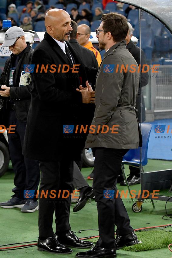 Luciano Spalletti, Roma's coach, Eusebio Di Francesco, Sassuolo's  coach.<br /> Roma 19-03-2017  Stadio Olimpico<br /> Campionato Serie A, <br /> AS Roma - Sassuolo<br /> Foto Antonietta Baldassarre / Insidefoto