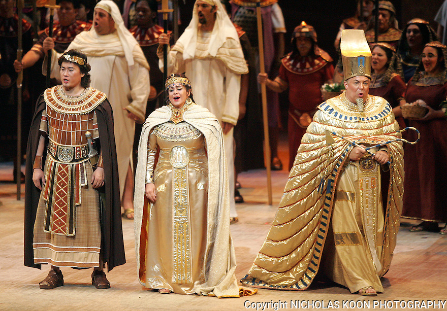 2006 - AIDA - (L to R) Radames (Yu Qiang Dai), Amneris (Jill Grove) and the King of Egypt (Stefan Szkafarowsky) sing in Opera Pacific's production of Aida.