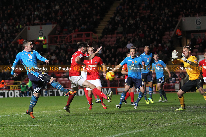 Ross McCormack of Leeds United scores his third - Charlton Athletic vs Leeds United - Sky Bet Championship Football at The Valley, London - 09/11/13 - MANDATORY CREDIT: Simon Roe/TGSPHOTO - Self billing applies where appropriate - 0845 094 6026 - contact@tgsphoto.co.uk - NO UNPAID USE