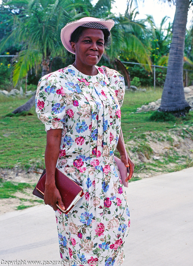 Jamaican women dressed for church, Cayman Brac, Cayman Islands, British West Indies,
