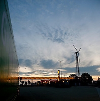 A Shell fuel station powered by a wind turbine near Aachen (Germany, 07/09/2009)