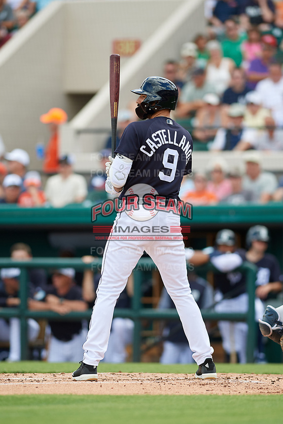 Detroit Tigers right fielder Nicholas Castellanos (9) at bat during a Grapefruit League Spring Training game against the New York Yankees on February 27, 2019 at Publix Field at Joker Marchant Stadium in Lakeland, Florida.  Yankees defeated the Tigers 10-4 as the game was called after the sixth inning due to rain.  (Mike Janes/Four Seam Images)