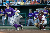 TCU's Holaday, Bryan 7047.jpg against Florida State at the College World Series on June 23rd, 2010 at Rosenblatt Stadium in Omaha, Nebraska.  (Photo by Andrew Woolley / Four Seam Images)