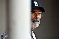 03 october 2009: Team manager of Rouen Francois Colombier is seen in the dugout during game 1 of the 2009 French Elite Finals won 6-5 by Rouen over Savigny in the 11th inning, at Stade Pierre Rolland stadium in Rouen, France.