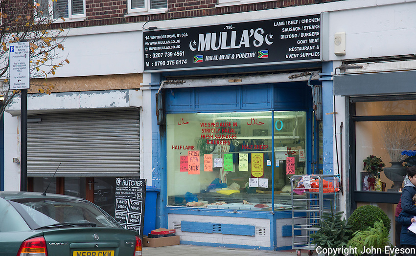 A halal butchers shop, London, England.