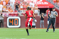 Landover, MD - September 1, 2018: Maryland Terrapins wide receiver Jeshaun Jones (6) breaks free for his second touchdown of the day during game between Maryland and No. 23 ranked Texas at FedEx Field in Landover, MD. The Terrapins upset the Longhorns in back to back season openers with a 34-29 win. (Photo by Phillip Peters/Media Images International)