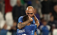 International friendly football match Italy vs The Netherlands, Allianz Stadium, Turin, Italy, June 4, 2018. <br /> Italy's Simone Zaza (r) celebrates after scoring with his teammates Lorenzo Insigne (l) during the international friendly football match between Italy and The Netherlands at the Allianz Stadium in Turin on June 4, 2018.<br /> UPDATE IMAGES PRESS/Isabella Bonotto