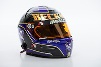 Jan 15, 2015; Jupiter, FL, USA; Detailed portrait view of the helmet of NHRA funny car driver Jack Beckman during preseason testing at Palm Beach International Raceway. Mandatory Credit: Mark J. Rebilas-USA TODAY Sports