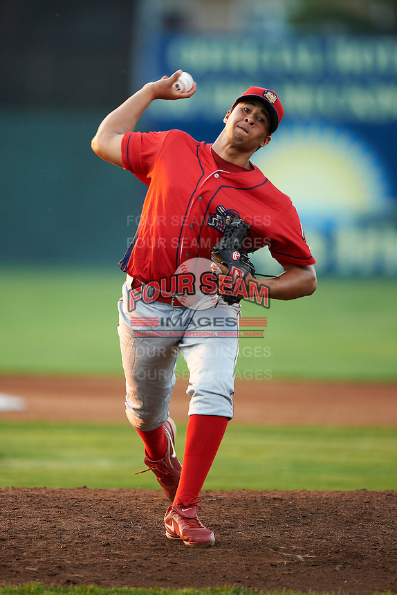 Williamsport Crosscutters pitcher Manaure Martinez #29 during a NY-Penn League game against the Batavia Muckdogs at Dwyer Stadium on August 24, 2012 in Batavia, New York.  Williamsport defeated Batavia 7-4.  (Mike Janes/Four Seam Images)