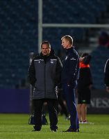 28th February 2020; RDS Arena, Dublin, Leinster, Ireland; Guinness Pro 14 Rugby, Leinster versus Glasgow; Glasgow head coach Dave Rennie chats with Leinster head coach Leo Cullen before kickoff