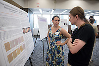 "Tess Arrighi '17 presents ""The Role of Indole in Biofilm Formation and Predator-Prey Interaction in Bdellovibrio bacteriovorus and Escherichia coli""<br /> Occidental College's Undergraduate Research Center hosts their annual Summer Research Conference on Aug. 4, 2016. Student researchers presented their work as either oral or poster presentations at the final conference. The program lasts 10 weeks and involves independent research in all departments.<br /> (Photo by Marc Campos, Occidental College Photographer)"