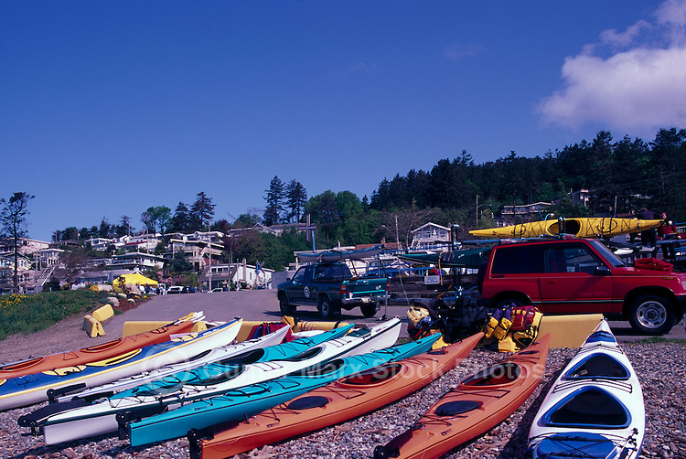 Kayaks on Beach at Semiahoo Bay, White Rock, BC, British Columbia, Canada
